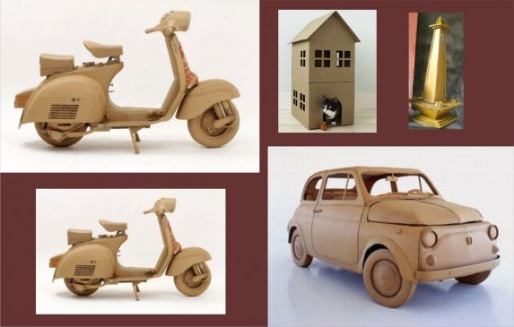 Handicrafts of used goods-miniature from vehicle cardboard