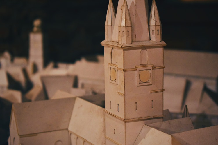 Crafts from cardboard-miniature palace