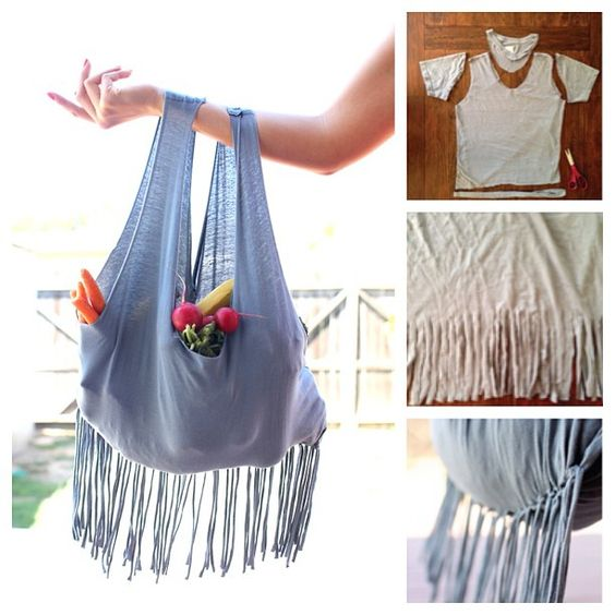 Craft from used goods-bag Kece from used T-shirts