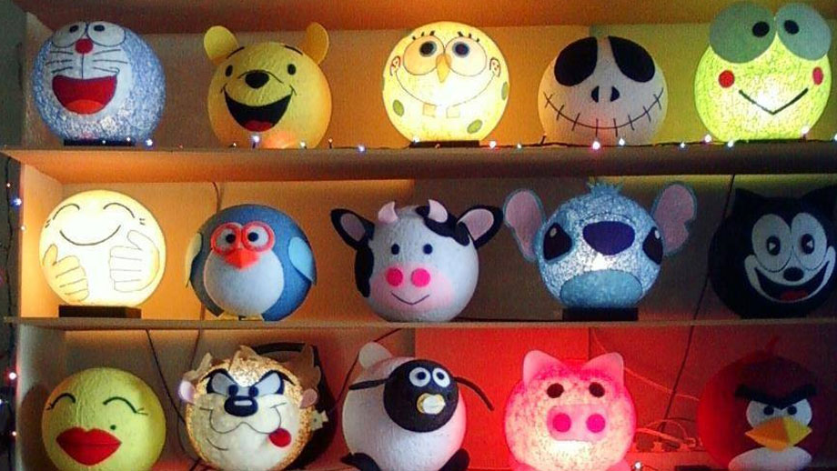9 Ideas of handicraft business at home Aja-decorative sleeping lamps of yarn and balloons